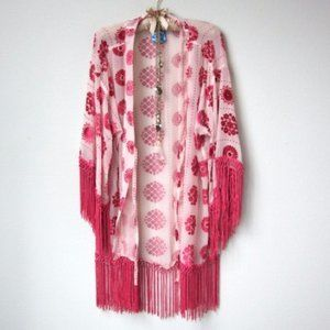 Free People Boho Velvet Pink Kimono Robe